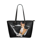 Basenji Leather Tote Bag