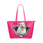 Great Pyrenees Leather Tote Bag