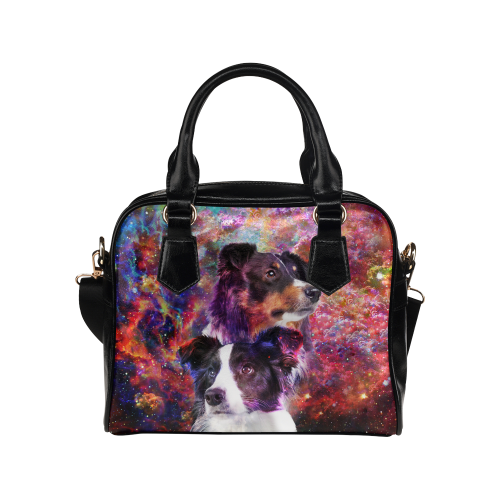 Border Collie Yin Yang Shoulder Handbag