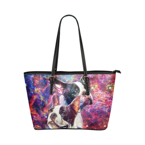 Boston Terrier Leather Tote Bag