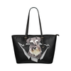 Schnauzer Leather Tote Bag