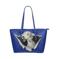 Bedlington Terrier Leather Tote Bag