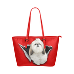 Shih Tzu Leather Tote Bag