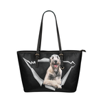 Irish Wolfhound Leather Tote Bag