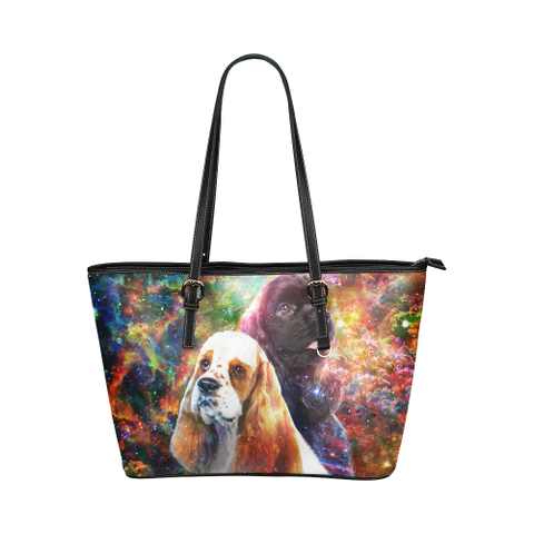 American Cocker Spaniel Leather Tote Bag