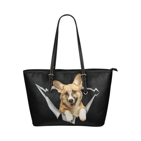 Welsh Corgi Leather Tote Bag