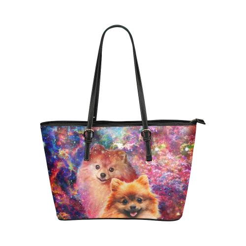 Pomeranian Leather Tote Bag