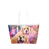 Golden Retriever Leather Tote Bag