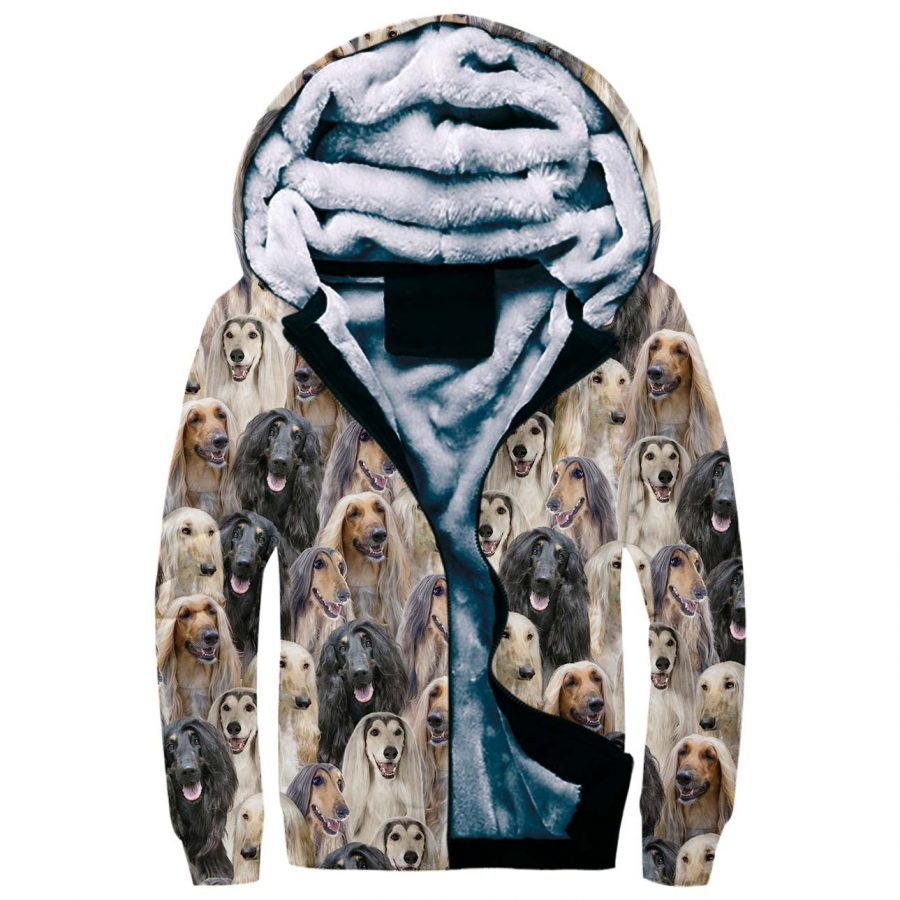 Afghan Hound Full Face Fleece Hoodie