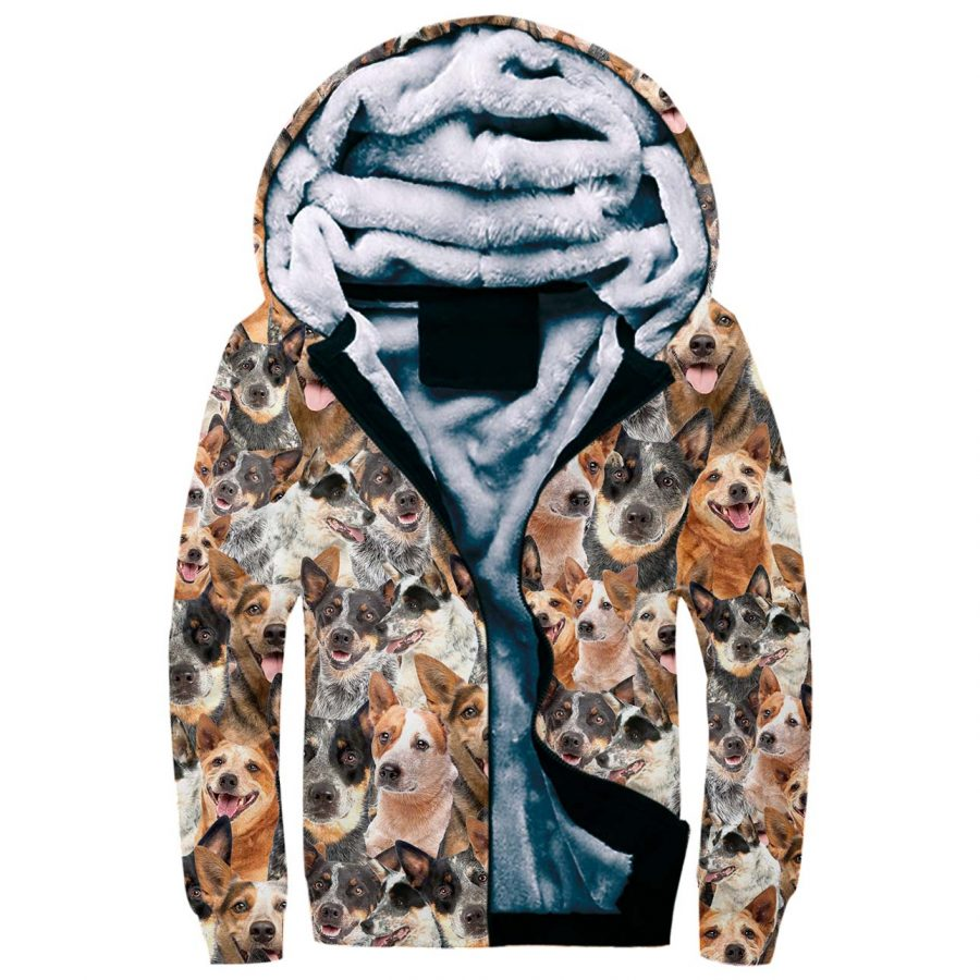 Australian Cattle Dog Full Face Fleece Hoodie