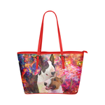 Bull Terrier Leather Tote Bag