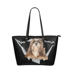 Lhasa Apso Leather Tote Bag
