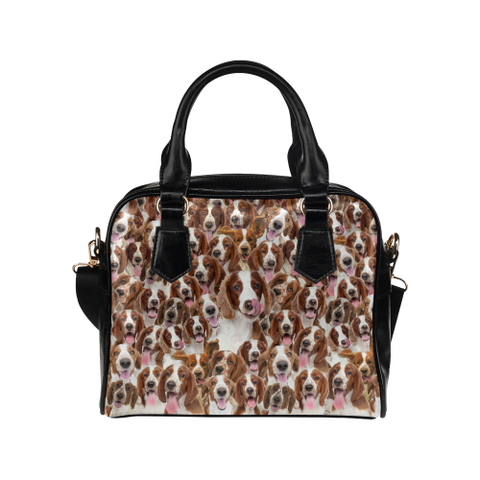 Welsh Springer Spaniel Face Shoulder Handbag