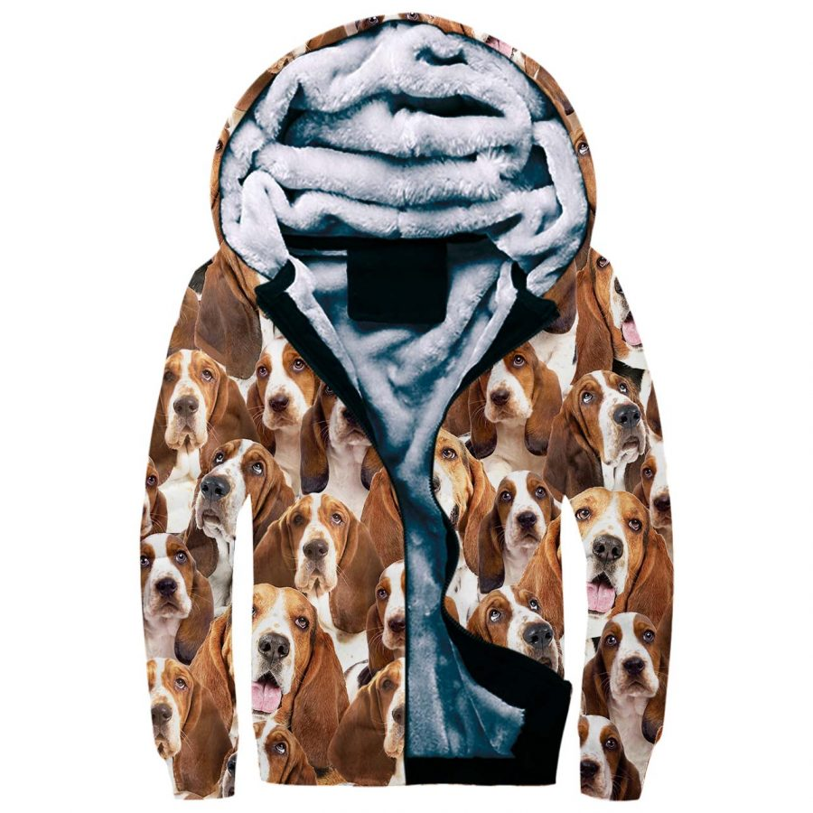 Basset Hound Full Face Fleece Hoodie