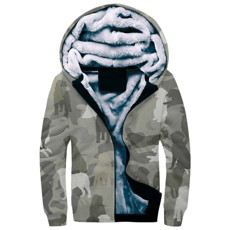 Bernese Mountain Dog Camo Fleece Hoodie