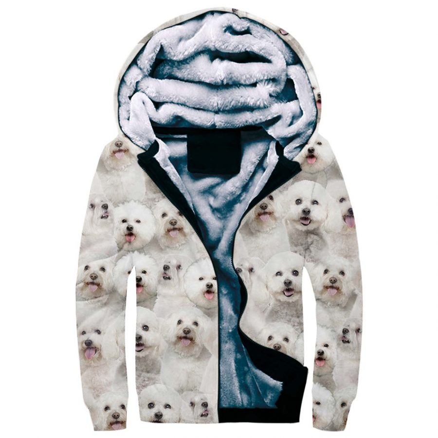 Bichon Frise Full Face Fleece Hoodie