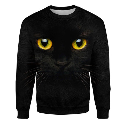 Black Cat Face Hair Sweatshirt