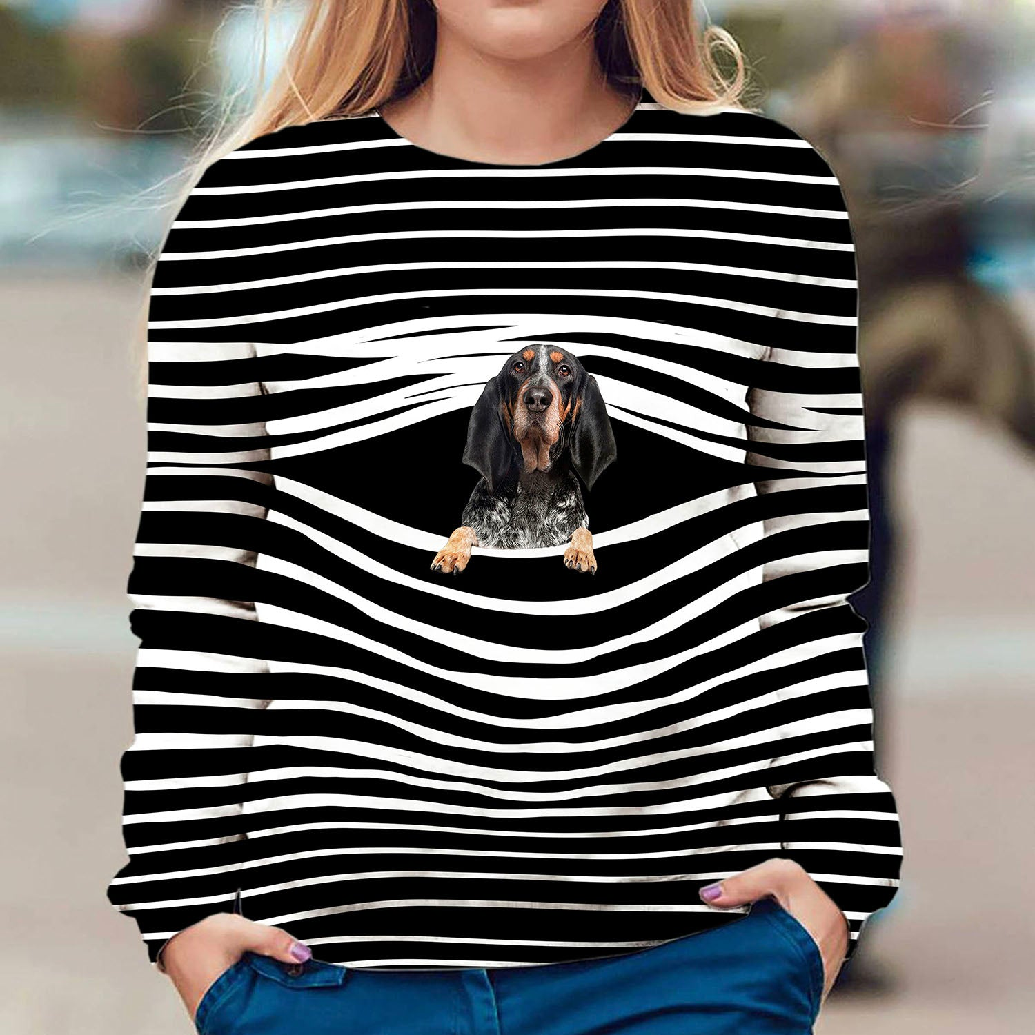 Bluetick Coonhound - Stripe - Premium Sweatshirt