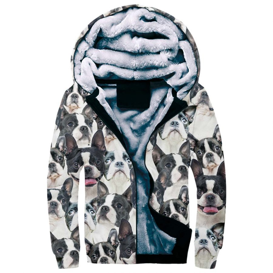 Boston Terrier Full Face Fleece Hoodie