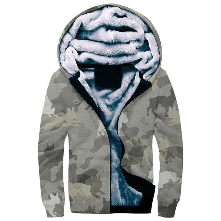 Boston Terrier Camo Fleece Hoodie