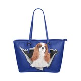 Cavalier King Charles Spaniel Leather Tote Bag