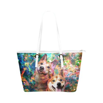 Shiba Inu Leather Tote Bag