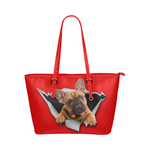 French Bulldog Leather Tote Bag