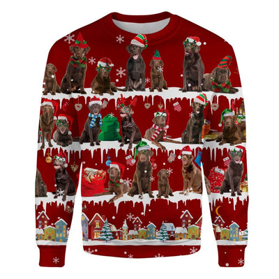 Chocolate Labrador Retriever - Snow Christmas - Premium Sweatshirt