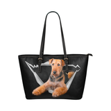 Airedale Terrier Leather Tote Bag