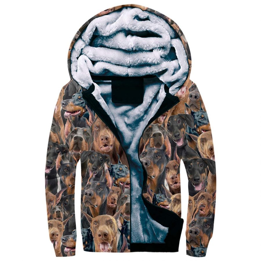 Doberman Pinscher Full Face Fleece Hoodie