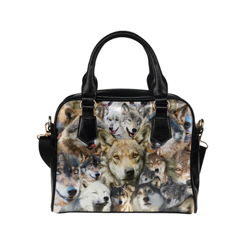 Wolf Face Shoulder Handbag