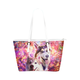 Siberian Husky Leather Tote Bag