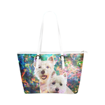 West Highland White Terrier Leather Tote Bag