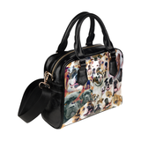 American Bulldog Face Shoulder Handbag