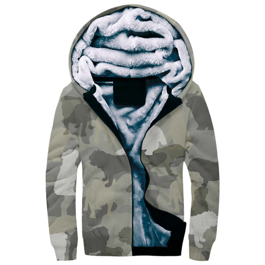 English Bulldog Camo Fleece Hoodie