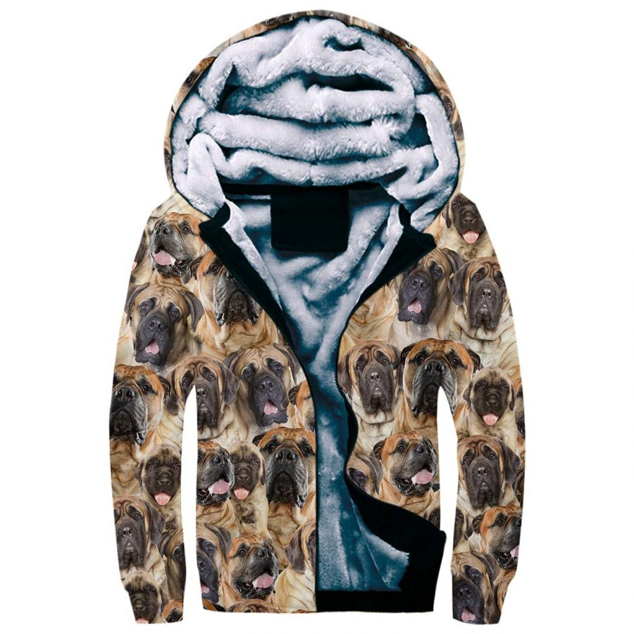English Mastiff Full Face Fleece Hoodie