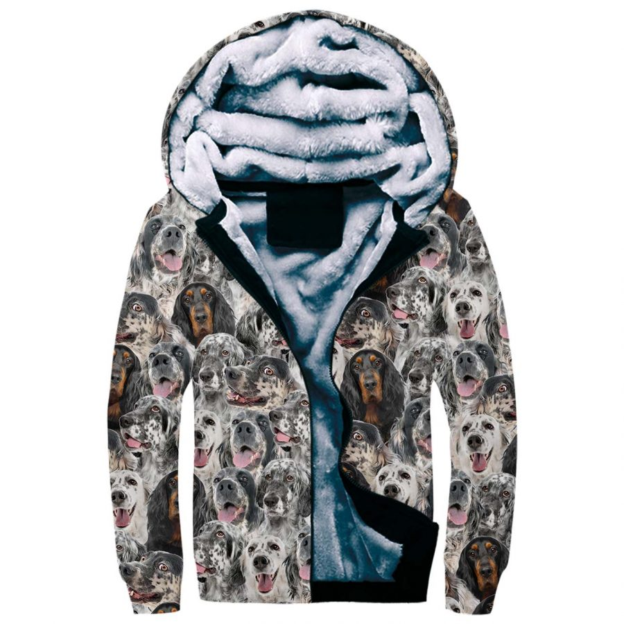 English Setter Full Face Fleece Hoodie