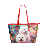 Bichon Frise Leather Tote Bag
