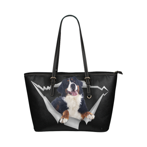Bernese Mountain Leather Tote Bag