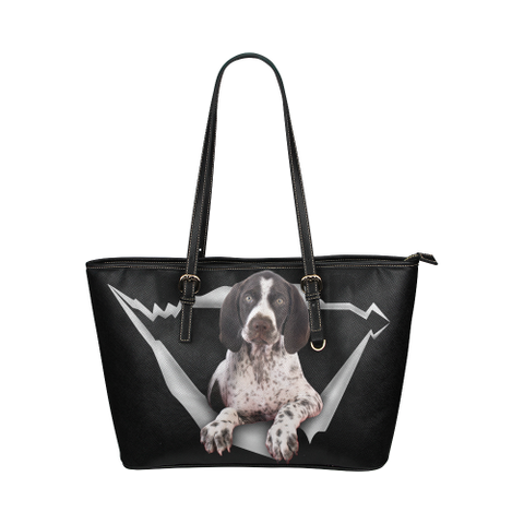German Shorthaired Pointer Leather Tote Bag