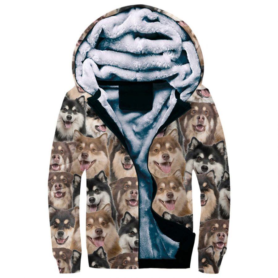 Finnish Lapphund Full Face Fleece Hoodie