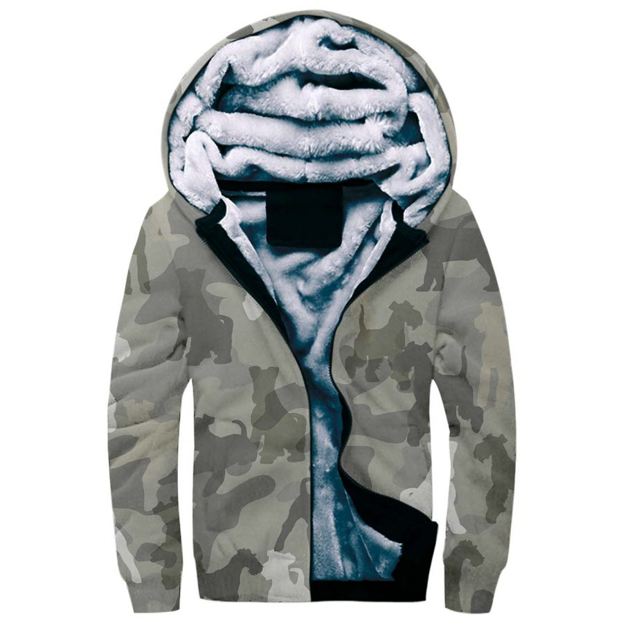 Fox Terrier Camo Fleece Hoodie