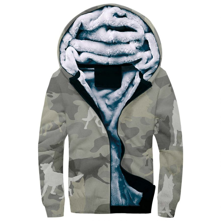 German Shepherd Camo Fleece Hoodie