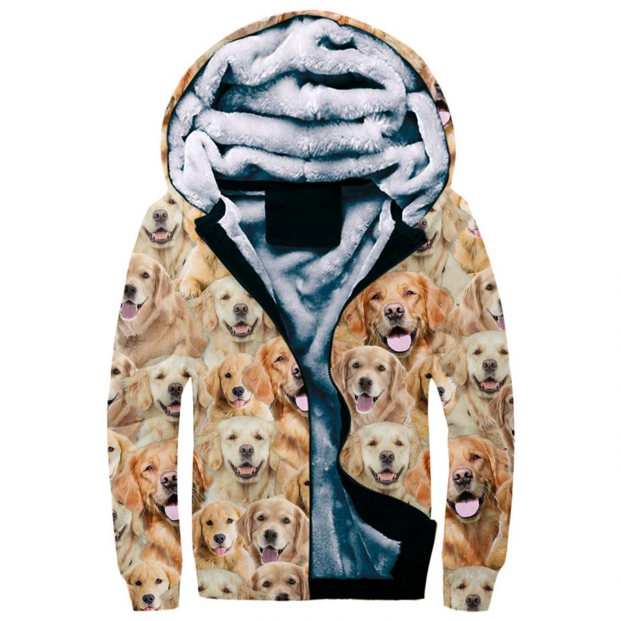 Golden Retriever Full Face Fleece Hoodie