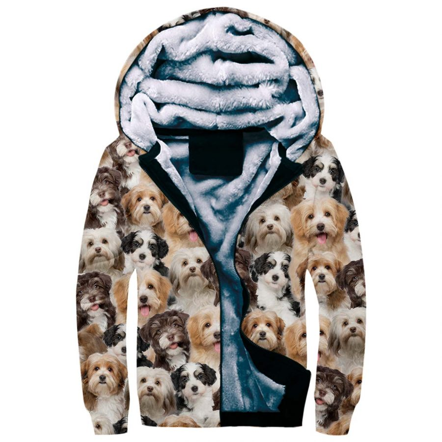 Havanese Full Face Fleece Hoodie