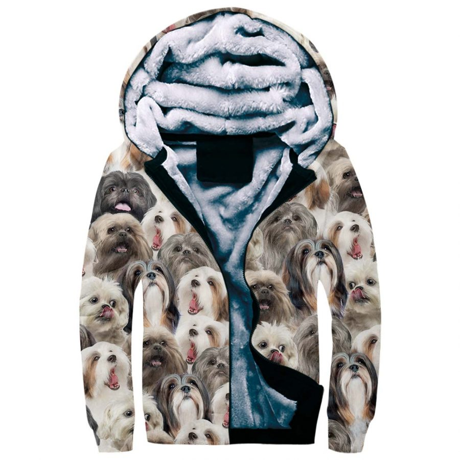 Lhasa Apso Full Face Fleece Hoodie