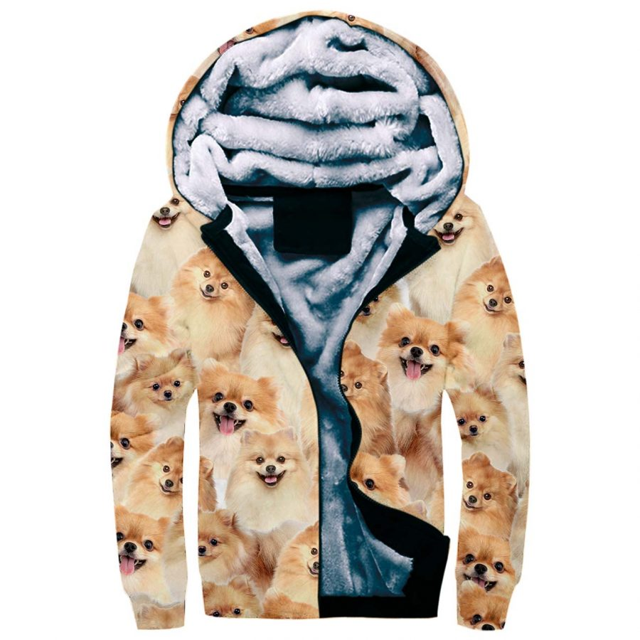 Pomeranian Full Face Fleece Hoodie