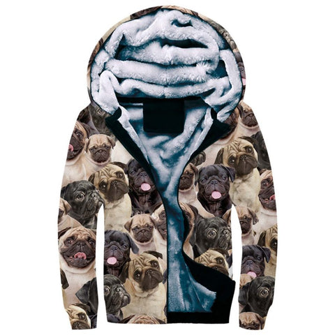Pug Full Face Fleece Hoodie