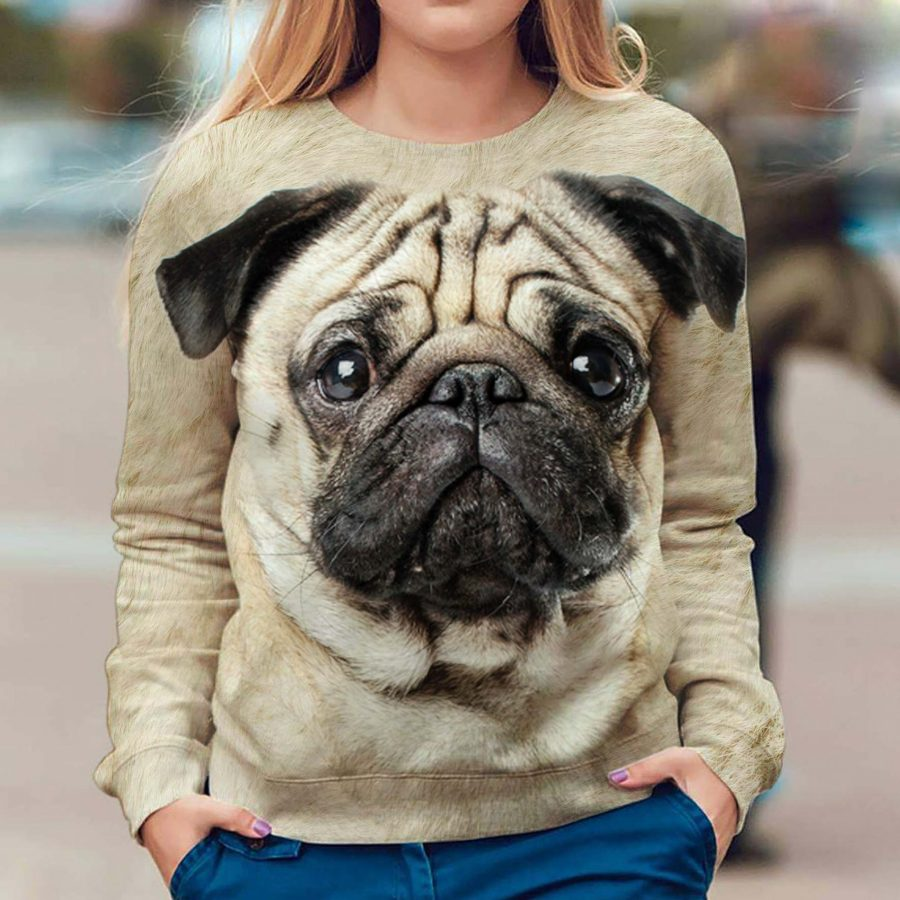Pug - Face Hair - Premium Sweatshirt