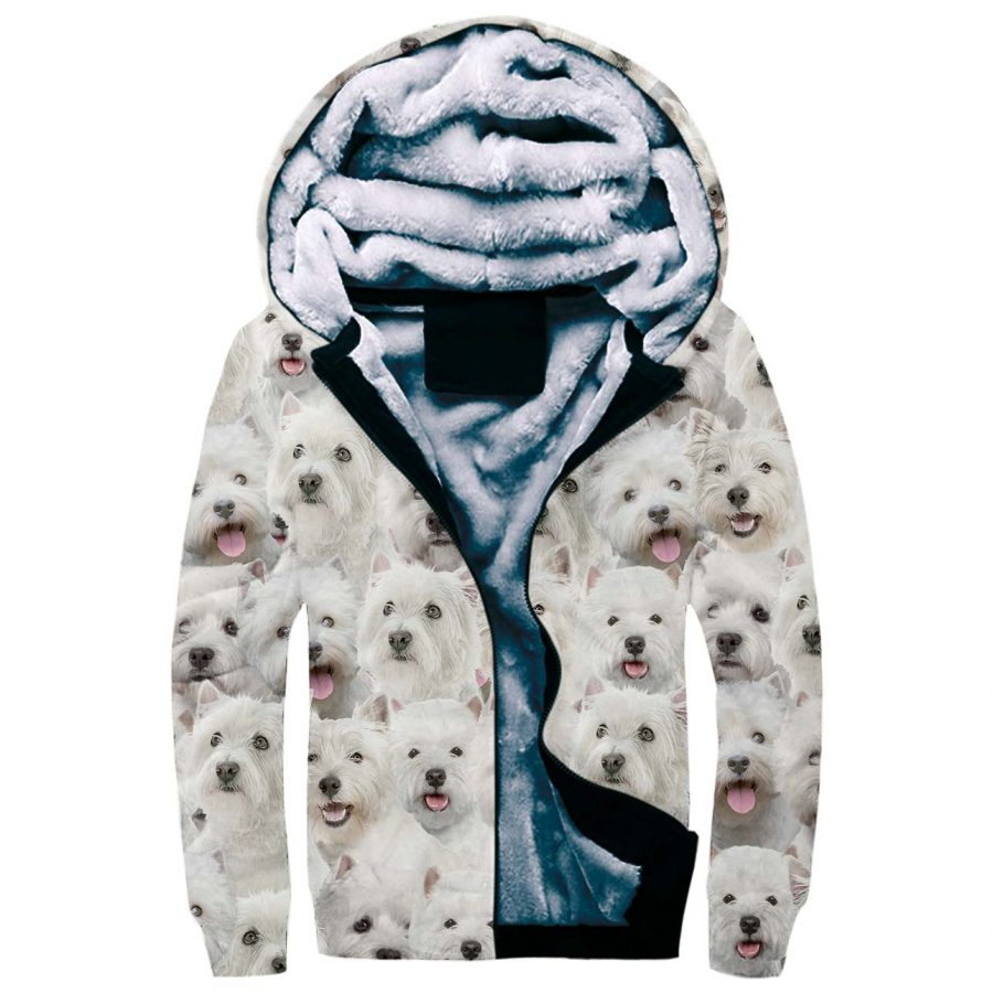 West Highland White Terrier Full Face Fleece Hoodie